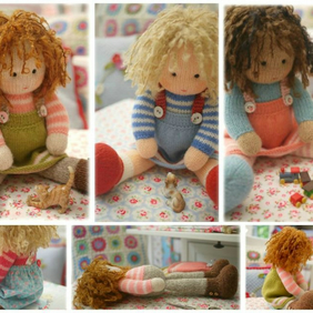 Dolls from the TEAROOM PDF Knitting Pattern plus FREE PDF for a Sewn Pinafore