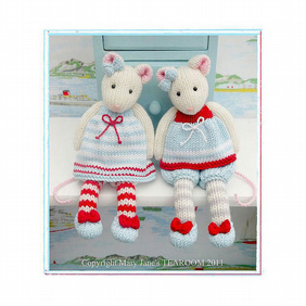 MJT Little Gems 'TEAROOM Mice'  Toy Knitting Pattern PDF Email Pattern