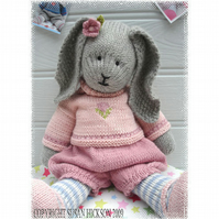 PRIMROSE RABBIT  BUNNY Knitted Toy PDF Email Pattern Toy Knitting Pattern