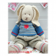 OSCAR RABBIT  BUNNY Knitted Toy PDF email pattern Toy Knitting Pattern