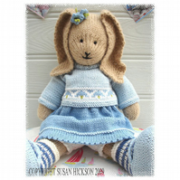 BLUEBELL Rabbit Toy Knitting Pattern PDF Email Pattern Bunny Rabbit