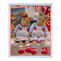MJT Little Gems 2 'CORNISH Mice'  Toy Knitting Pattern/ PDF Email Pattern