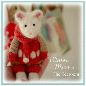 WINTER Mice at the TEAROOM PDF Toy Knitting Pattern