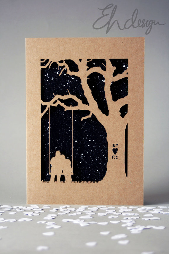 personalised papercut tree swing kraft card - w