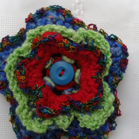 Bright Crochet Flower Brooch