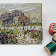 Textile Art Fabric Picture Landscape Church in Field
