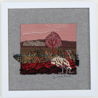 Textile Art of Landscape with Red Tree