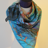 Large Square Silk Scarf Printed from Original Art