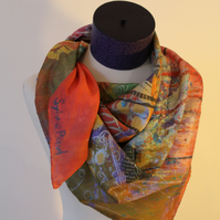Digitally Printed Large Silk Scarf from my Original Art