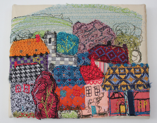 Textile Art Picture Town Roof Tops