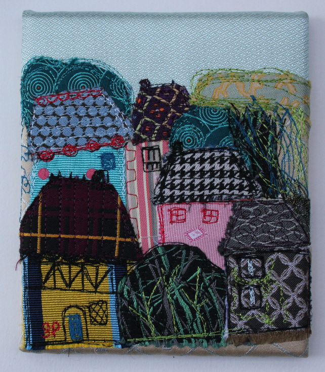 Textile Art Picture Town View