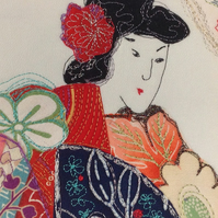 Geisha Beauty Textile Art