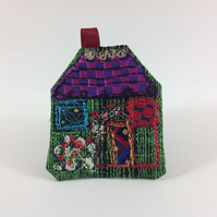 Textile Art House Brooch. Green Cottage