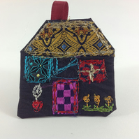 Textile Art House Brooch. Purple Cottage