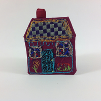 Art Textile House Brooch. Red Cottage