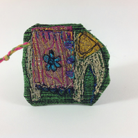 Textile Art Elephant Brooch. Green.