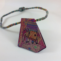 Art Textile Pendant Indian Elephant