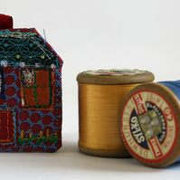 Red Textile House Brooch