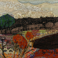 Textile Art Picture Landscape with Seed Heads