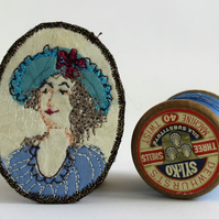 Mini Portrait Textile Art Brooch Cynthia