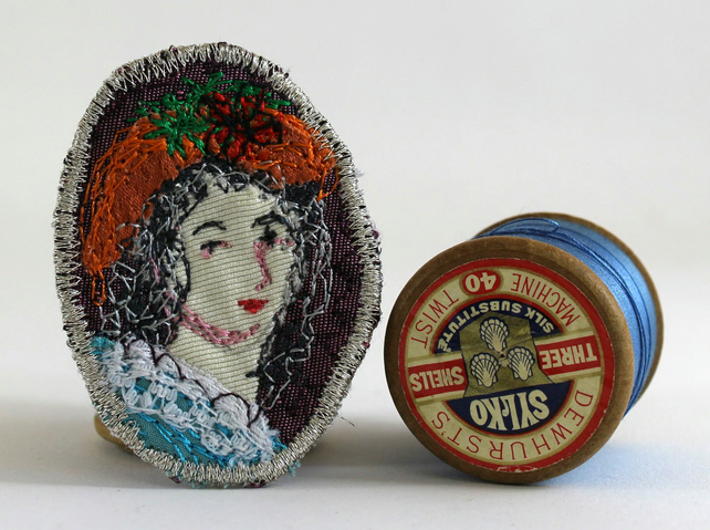 Mini Portrait Textile Art Brooch Gloria