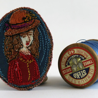 Mini Portrait Textile Art Brooch Emily