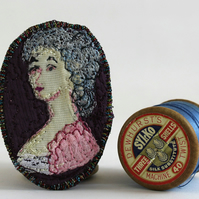 Mini Portrait Textile Art Brooch Agatha