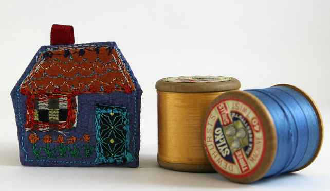 Blue House Brooch