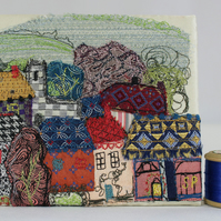 Textile Art Picture Little Town