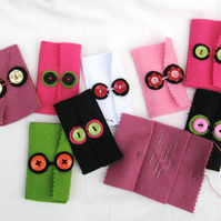 Bright Felt Needlecase, Travel Needlecase, Button Needle Case, Assorted Colours