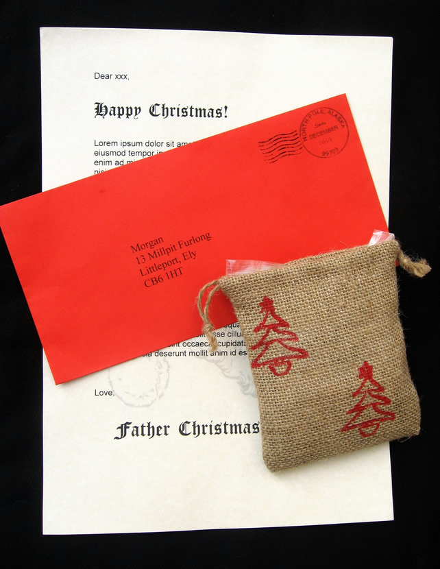 Personalised letter from father christmas lett folksy for Personalized letter from santa with reindeer food