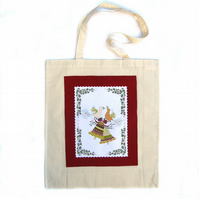 Christmas Birds & Holly Tote Bag, Festive Gift Bag, Christmas Applique Bag