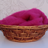 Raspberry Perendale Wool Basket Liner, Bright Pink Wool Fluff, Basket Stuffer