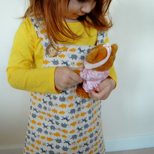 Adorable Japanese Fabric Pinafore - 12-18mo, 2T, 3T