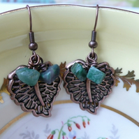Antique Copper Leaf and African Jade Earrings