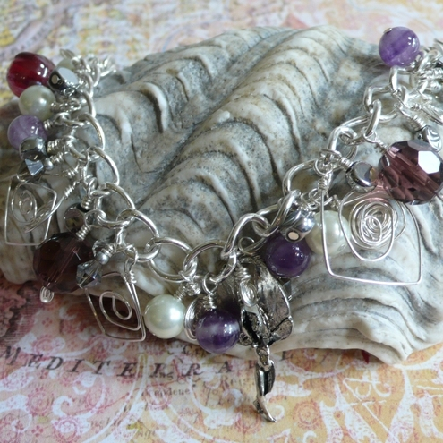 Swirly Squiggly Art Deco Fairy Charm Bracelet