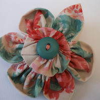 Fabric Flower Brooch- Recycled Fabrics