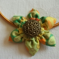 Floral fabric necklace