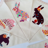 Cotton Tail Rabbit Easter Bunting in psychedelic prints-Nursery Bunting