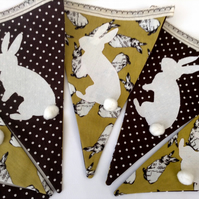 White cotton tailed rabbits Easter Bunting- Nursery Bunting