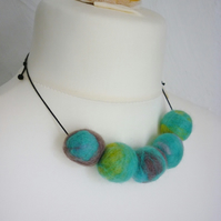 stormy seas felt ball necklace