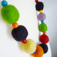 rainbow felt ball necklace