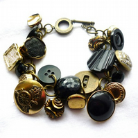 black vintage button bracelet