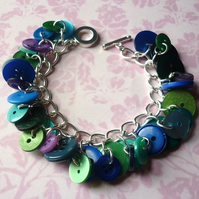 peacock button bracelet