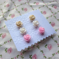 End of line SALE - mini rose earrings (3)