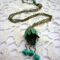 verdigris flower necklace