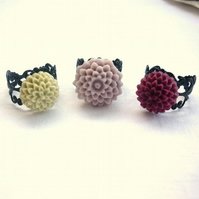 end of line sale - black filigree flower rings