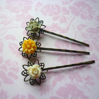 vintage flower hair slides