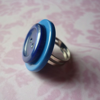 double blue button ring