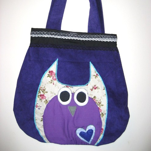 purple owl bag